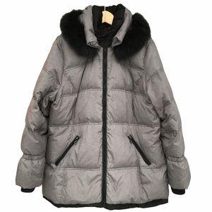 Jeno Neuman Fox Fur Grey Down Coat Jacket XL 18